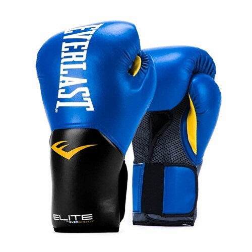 Everlast Pro Style Elite Workout Training Boxing Gloves Size 8 Ounces, Blue Perspective: front