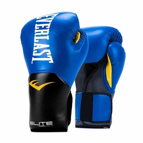 Everlast Pro Style Elite Workout Training Boxing Gloves Size 12 Ounces, Blue Perspective: front