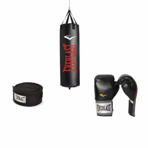 Everlast 100 LB Nevatear Heavy Bag Boxing Kit w/ Pro-Style Gloves and Hand Wraps Perspective: front