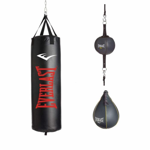 Everlast 3 Piece Set 100 Pound Heavy Bag, Speed Bag and Double End Bag Perspective: front