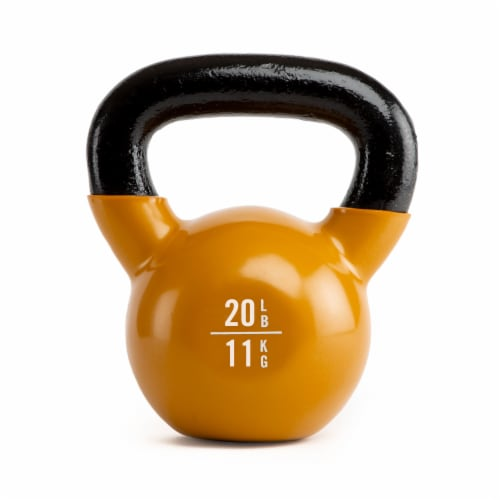 Everlast Vinyl Coated Iron Kettlebell Exercise Training Weight, 20 Pound, Orange Perspective: front