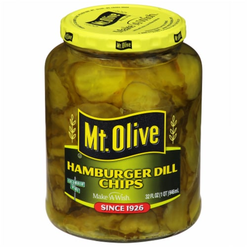 Mt. Olive Hamburger Dill Pickle Chips Perspective: front