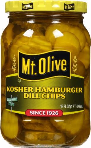 Mt. Olive Kosher Hamburger Dill Pickle Chips Perspective: front
