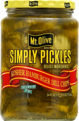 Mt. Olive Simply Pickles Kosher Hamburger Dill Chips Perspective: front