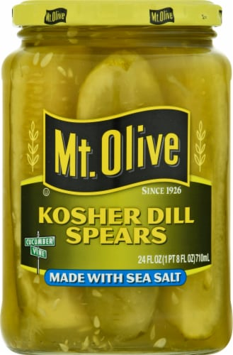 Mt. Olive Kosher Dill Spears with Sea Salt Perspective: front