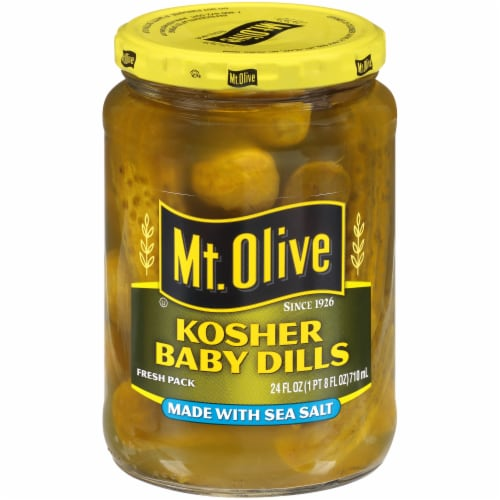 Mt. Olive Kosher Baby Dills with Sea Salt Perspective: front