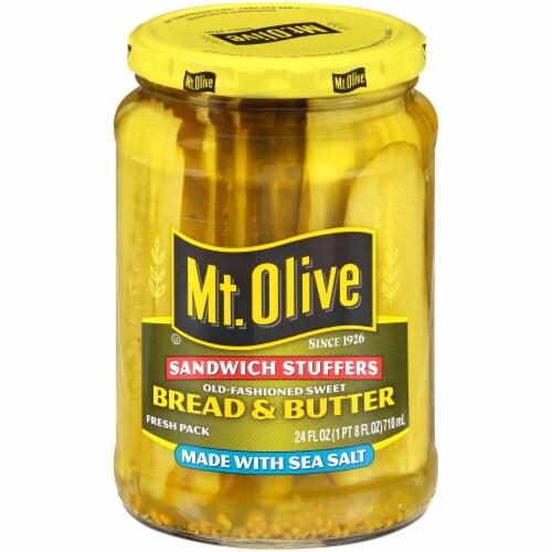 Mt. Olive Bread & Butter Sandwich Stuffers with Sea Salt Perspective: front