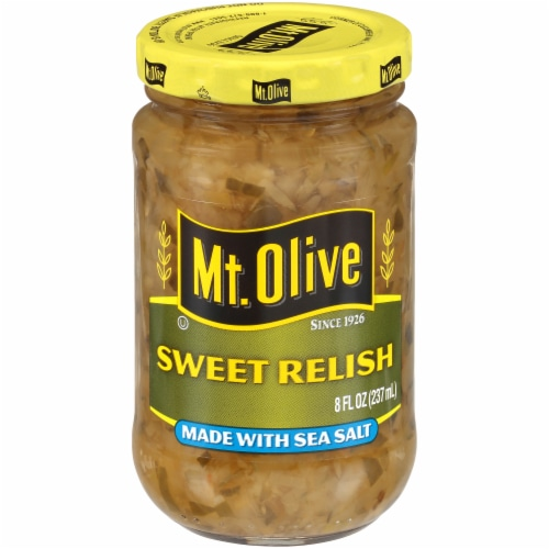 Mt. Olive Sweet Relish with Sea Salt Perspective: front