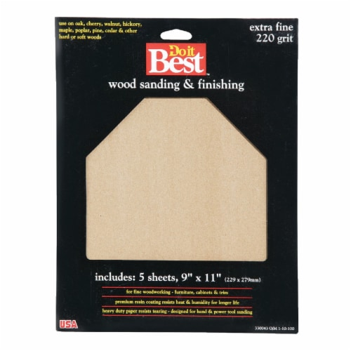 Do it Best Bare Wood 9 In. x 11 In. 220 Grit Extra Fine Sandpaper (5-Pack) Perspective: front