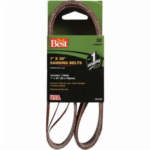 Do it Best 1 In. x 30 In. 50 Grit Power Sanding Sanding Belt (3-Pack) 353728 Perspective: front
