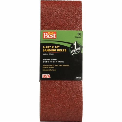 Do it Best 2-1/2 In. x 16 In. 50 Grit Heavy-Duty Sanding Belt (2-Pack) 380385 Perspective: front