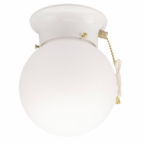 Home Impressions 1bulb Wht Globe Fixture ICL9WHW Perspective: front