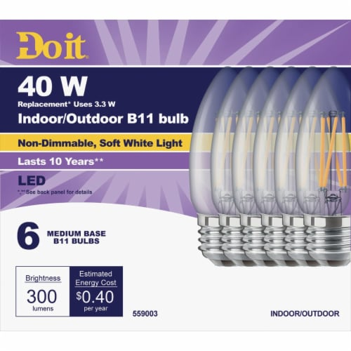 Do it 6pk 40wb11sw T20led Bulb 362228 Perspective: front