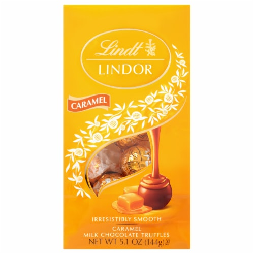 Lindt LINDOR Caramel Milk Chocolate Truffles Perspective: front