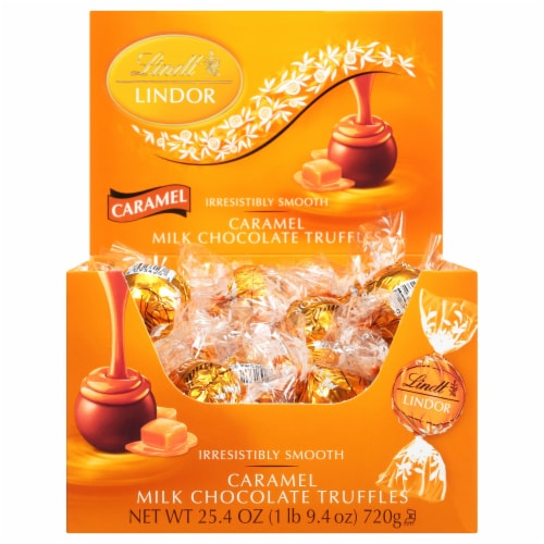 Lindt Lindor Caramel Milk Chocolate Truffles Perspective: front