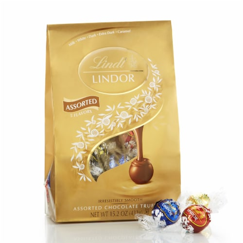 Lindt Lindor Assorted Caramel Chocolate Truffles Perspective: front