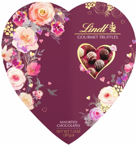 Lindt Assorted Gourmet Truffles Valentine's Heart Box Perspective: front