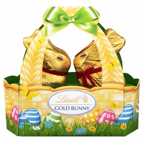 Lindt Gold Bunny Milk Chocolate Candy Basket Perspective: front
