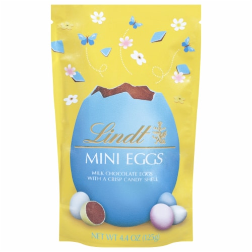 Lindt Solid Milk Chocolate Mini Eggs with Crisp Candy Shell Perspective: front