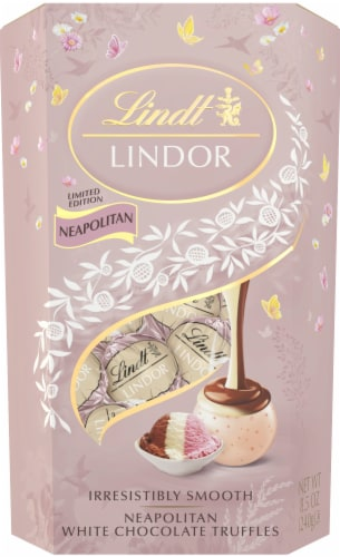 Lindt Lindor Neapolitan White Chocolate Truffles Perspective: front