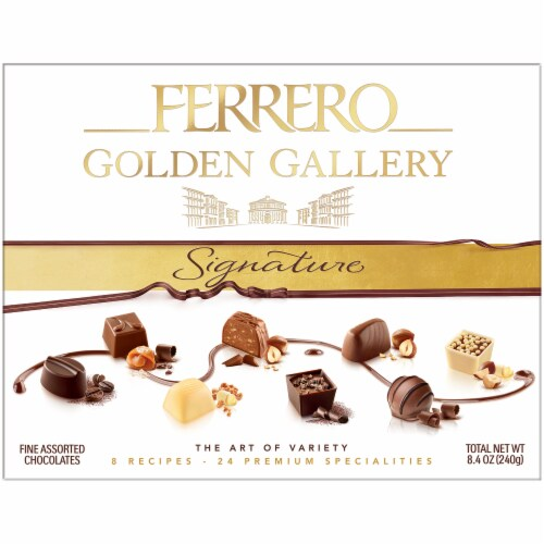 Ferrero Golden Gallery Signature Fine Assorted Boxed Chocolates Perspective: front