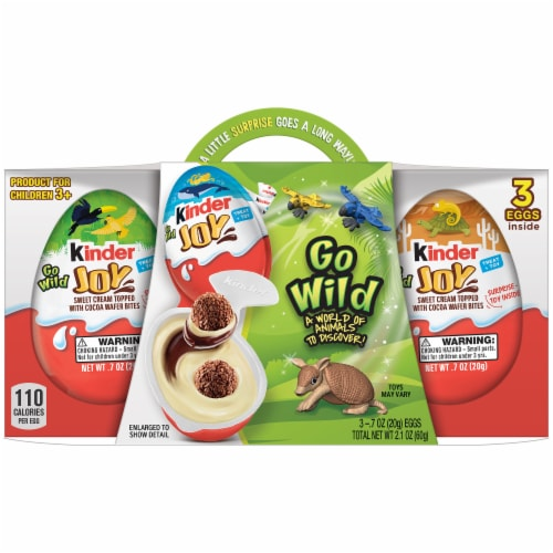 Kinder Joy Go Wild Sweet Cream Tipped with Cocoa Wafer Bites Eggs Perspective: front