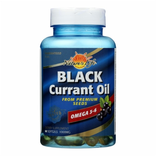 Health From The Sun Black Currant Oil 1000 mg Omega 3-6 Softgels Perspective: front