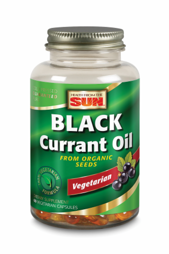 Health From The Sun Organic Black Currant Oil Vegetarian Capsules Perspective: front