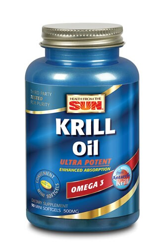Health From the Sun Krill Oil 500 mg Omega 3 Softgels Perspective: front