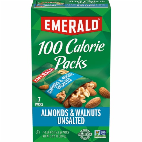 Emerald 100 Calorie Packs Unsalted Almonds & Walnuts Perspective: front