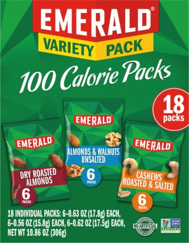 Emerald Almonds Walnuts & Cashews 100 Calorie Variety Packs Perspective: front