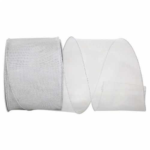 Reliant Ribbon 99663W-070-10X Mesh Display Value Wired Edge Ribbon - Silver - 4 in. x 30 yard Perspective: front