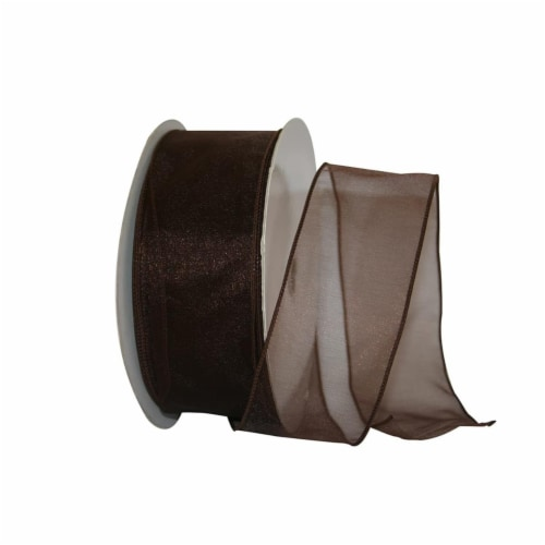 Reliant Ribbon 99908W-092-40K Sheer Lovely Value Wired Edge Ribbon - Brown - 2.5 in. x 50 yar Perspective: front
