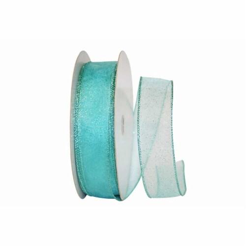 Reliant Ribbon 99910W-077-09K Sheer Glitz 2 Value Wired Edge Ribbon - Aqua - 1.5 in. x 50 yar Perspective: front