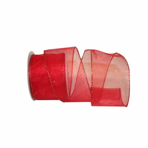 Reliant Ribbon 99910W-065-40F Sheer Glitz 2 Value Wired Edge Ribbon - Red - 2.5 in. x 10 yard Perspective: front