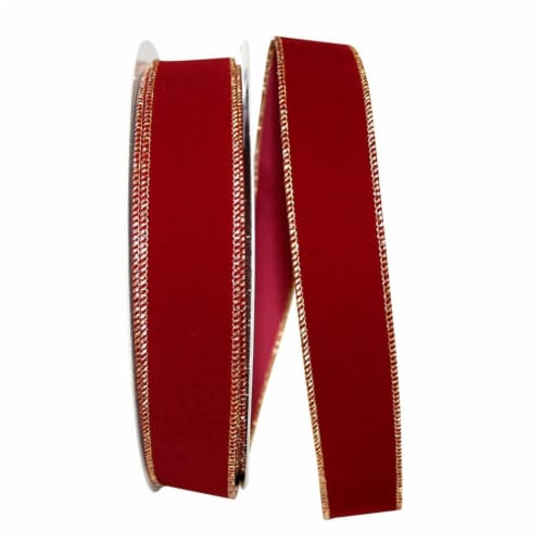 Reliant Ribbon 92270W-096-09K Value Velvet Wired Edge Ribbon - Burgundy & Gold - 1.5 in. x 50 Perspective: front