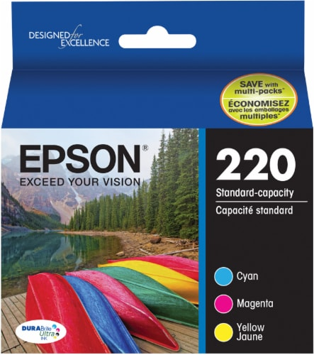 Epson DURABrite® Ultra 220 Ink Cartridges - 3 Pack - Multi-Color Perspective: front