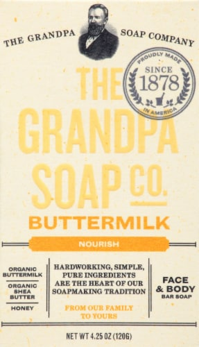 Grandpa's Buttermilk Bar Soap Perspective: front