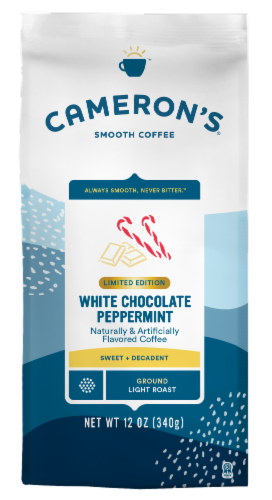 Cameron's White Chocolate Peppermint Light Roast Ground Coffee Perspective: front