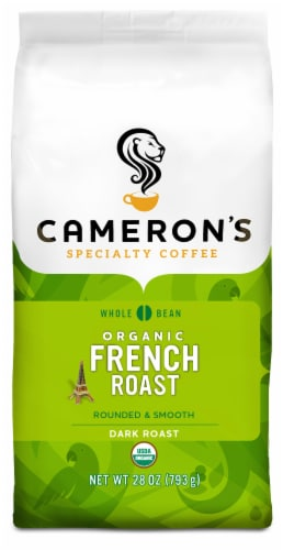 Cameron's Organic French Roast Rounded & Smooth Dark Roast Whole Bean Coffee Perspective: front