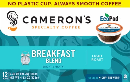 Cameron's Bright & Fruity Breakfast Blend Light Roast K-Cups Perspective: front