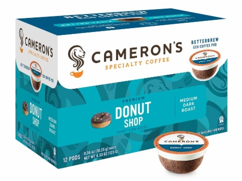 Cameron's Donut Shop Balanced Blend Coffee Pods Perspective: front