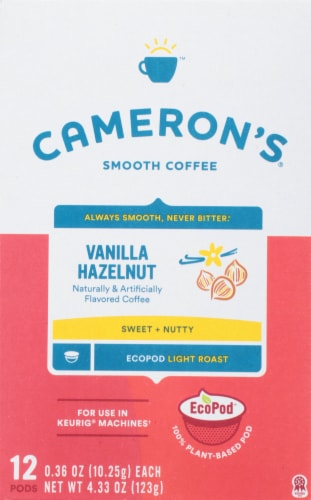 Cameron's Vanilla Hazelnut Single Serve Coffee Pods Perspective: front