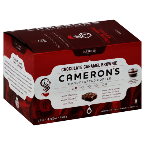 Cameron's Chocolate Caramel Brownie Blend Coffee Pods 12 Count Perspective: front