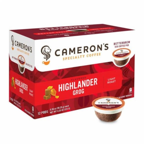 Cameron's Highlander Grog Rum & Butterscotch Specialty Coffee Pods Perspective: front