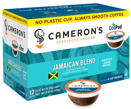 Cameron's Jamaica Blue Mountain Blend Single Serve Coffee Pods 12 Count Perspective: front