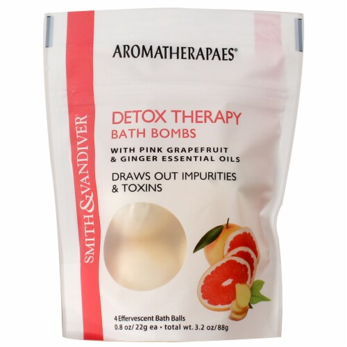 Smith & Vandiver Aromatherapaes Pink Grapefruit & Ginger Detox Therapy Bath Bombs Perspective: front