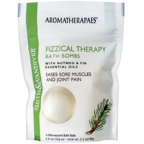 Smith & Vandiver Aromatherapaes Nutmeg & Fir Fizzical Therapy Bath Bombs Perspective: front