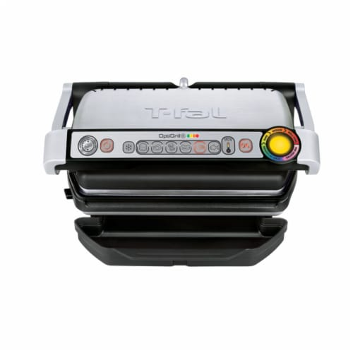 T-fal OptiGrill Plus Stainless Steel Indoor Electric Grill Perspective: front