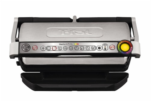 T-fal Stainless Steel OptiGrill + XL Indoor Grill Perspective: front